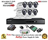#10: Hikvision CCTV Security System With Turbo DS-7208HQHI-F1 8CH DVR + DS-2CE16DOT-IR HD Bullet Camera 6pcs+ 2TB HDD + Active Cable + Active Power Supply Full Combo