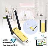 kaersishop Wifi Repeater AC1200Mbps Dual-Band Wireless Netzwerkkarte USB 3.0 Ultraschnelle integrierte/Externe Antenne AP Modell, External Antenna