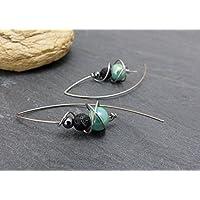 Boucles d'oreilles vert/bleu gris noir, céramique, hématite, lave et acier inoxydable