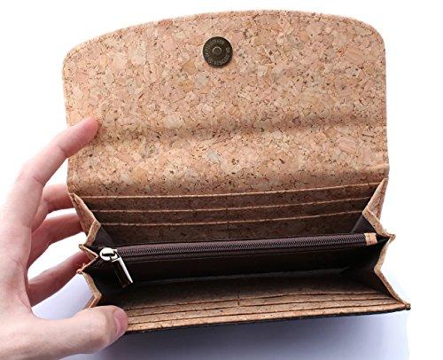 ECOVE - hochwertige und elegante Kork Damengeldbörse, Portemonnaie, Geldbörse mit vielen Fächern, Größe: 19cm x 10cm - 3