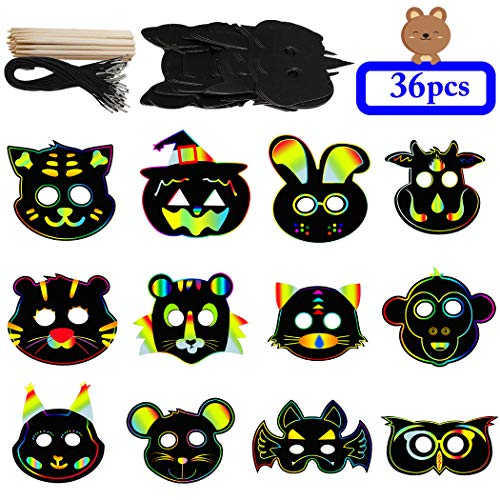 ZOYLINK 36 STÜCKE Kinder Party Maske Magie Kreative DIY Verschiedene Tier Maske Scratch Art Kit
