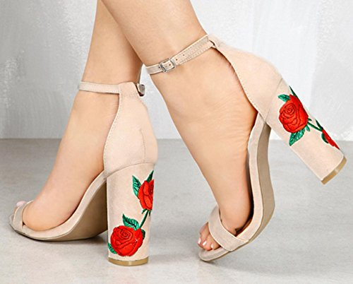 Wildleder gestickt mit High Heels Sandalen Hochzeit Schuhe Brautkleid Groß Größe 34-43 , nude , 34 (Lila Cowboy Stiefel)