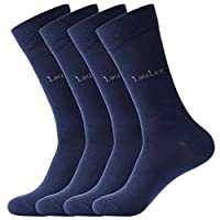Laulax 4 Pairs Finest Combed Cotton Dress Socks, Navy, Size 9-11, Gift Set
