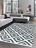 Carpetia Waschbarer Teppich Print Teppich Küchenteppich schwarz skandinavisches Muster Größe 120x160 cm