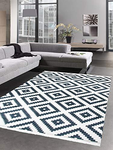 Carpetia Waschbarer Teppich Print Teppich Küchenteppich schwarz skandinavisches Muster Größe 140x200 cm Oval -