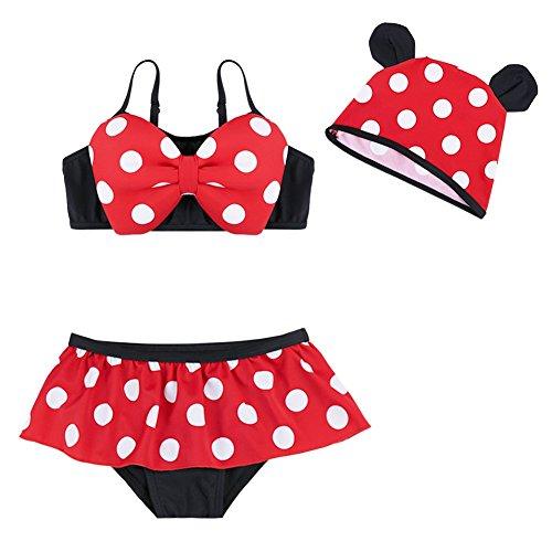 Tiaobug Mädchen Badeanzug Polka Dots Bikini Set mit Kappe Schleife Bustier und Rüschen Slip Bademode für Kinder gr 86 92 98 104 110 Rot 92-98/2-3 Jahre -