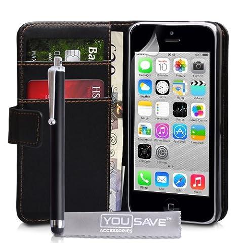 iPhone 5C Tasche Schwarz PU Leder Brieftasche Hülle Mit Griffel