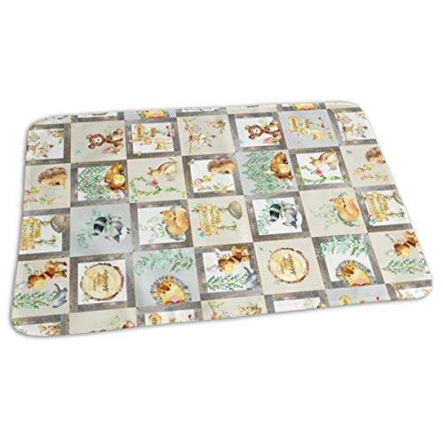 BLOCKS- Woodland Adventure Patchwork Quilt (rotated) - Moose Fox Deer Bear Hedgehog Squirrel Raccoon - Grey + Cream Blanket Design Baby Portable Reusable Changing Pad Mat 19.7x 27.5 inch -