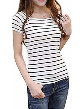 SKY Promotion!!! Mujeres cuello redondo Slim Short rayas Top Blusa de la camiseta Round Neck Slim Short Striped...