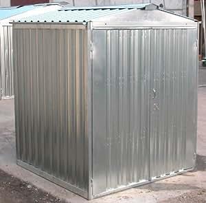 Box casetta in lamiera zincata con struttura in acciaio zincato mt. 3,43x2,60x2,11 h con porta a due ante mod. SAPILBOX