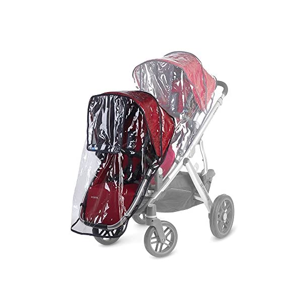 UPPAbaby Rumbleseat Rainshield UPPAbaby Custom fit on the rumble seat while in use on the vista Easy Velcro attachments keep rain shield in place Made of durable, phthalate free plastic 2