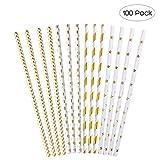 NUOLUX Papier Trinkhalm Biologisch Papier Stroh mit Sternstreifen Dot Wave Pattern für Party, Gold, 100 Stück