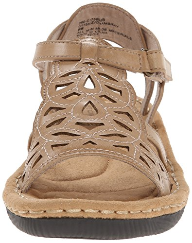 White Mountain Chambray Synthétique Sandales Compensés Stone-Burnished-Smooth