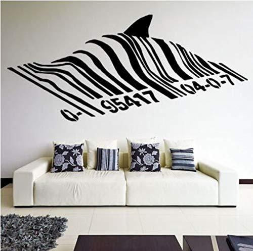 Barcode Shark Wandtattoo Vinyl Street Art Graffiti Stil Wandkunst Wand Hai Design Home Street Wanddekoration 57x26 cm