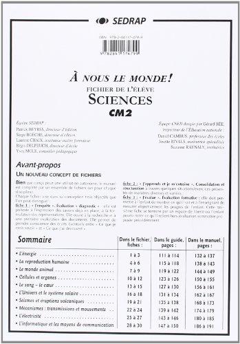 nous le monde ! CM2 - Sciences CM2 (Le dossier photocopier) par Collectif Sedrap