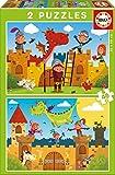 Educa Borrás-Dragones y Caballeros 2 Puzzles, Multicolor, 48 Piezas 17151