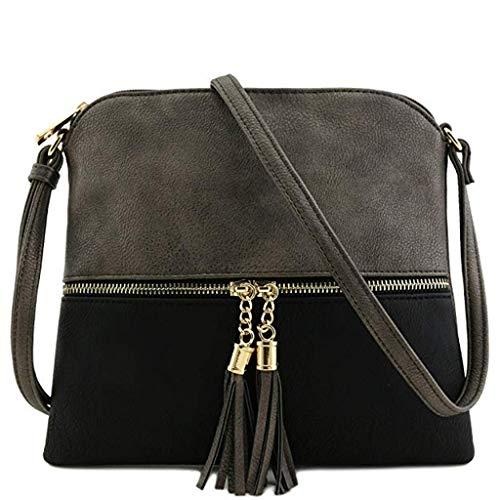 y Messenger Bag für Frauen Leder Tassel Crossbody Bag Hit Color Shoulder Bag Totes Handtaschen Schultertaschen Rucksack Totes Waist Tasche Tasche Tasche Brustpaket ()