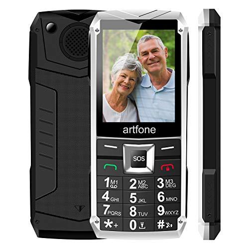 Seniorenhandy, Artfone Mobiltelefon Senioren-Handy Großtastenhandy ohne Vertrag mit großen Tasten 2,4 Zoll Farbdisplay Notruftaste Taschenlampe GSM Dual SIM Rentner Tasten Handy Tastenhandy (Metall)