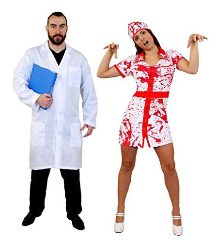 Kostüm Paare Arzt Krankenschwester - ILOVEFANCYDRESS DOKTOR Paar Krankenschwester Arzt KOSTÜM VERKLEIDUNG=Krankenschwester BLUTIG ODER OHNE Blut =Fasching Karneval Cosplay Halloween Unisex=Arzt KITTEL-XLarge + BLUTIGE Nurse-MEDIUM