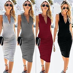 TPulling Damen Tasche Abendkleid Frau Mode Minikleid Sommer V-Ausschnitt Tasche Hüfte Ärmelloses Standkleid Beiläufige Abend Partykleid