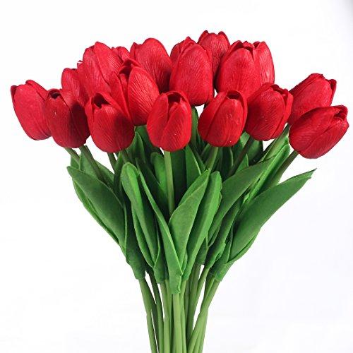 Justoyou Einstielige Latex-Tulpen, fühlen sich an wie echt, künstliche Blumen für Hochzeits-Bouquets, Zuhause, Hotel, Garten-Deco, Veranstaltungen, Weihnachten, als Geschenk, Textil, dunkelrot, 20 Stück