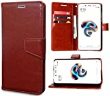 Unistuff Artificial Leather 360 Degree Protection Impact Resistant Wallet Folio Flip Cover with Magnetic Loop for Mi Redmi Note 5 Pro (Brown, 63006)
