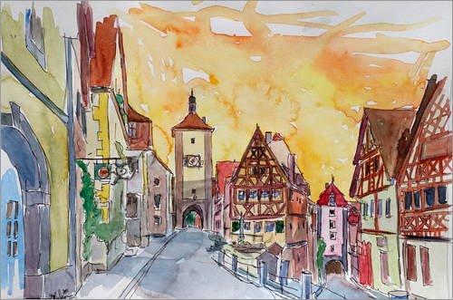 Forex-Platte 120 x 80 cm: Rothenburg an der Tauber Aquarell Sonnenuntergang im romantischen Franken...