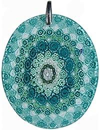 Pendente Millefiori in vetro di Murano con montatura in argento 925 e collana tipo veneziana in argento 925.