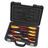 kravm e09058Kit Herramientas para Electricistas, de cromo vanadio, con maletín, 8piezas, rojo/amarillo