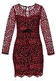 Even&Odd kurzes Spitzenkleid für Damen - Cocktailkleid aus geblümter Spitze, Rot in Größe M