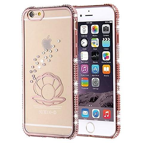 Phone Case Coque cover, Pour iPhone 6 / 6s, boîtier de protection TPU de cadre à galvanoplastie encadré diamant ( SKU : IP6G1861B )
