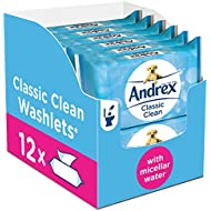 Andrex Washlets, Classic Clean Toilet Tissue Wet Wipes with Micellar Water (Flushable Tissue Wipes), 12 Packs