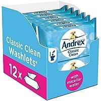 Andrex Gentle Clean Flushable Washlets, Fragrance Free, Pack of 12