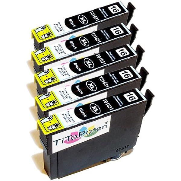 5x Epson Workforce Wf 2510 Wf Kompatible Xl Druckerpatronen T 1631 Schwarz Patrone Mit Chip Bürobedarf Schreibwaren