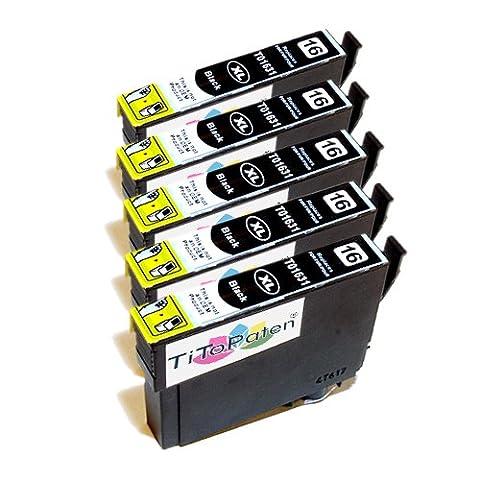 5x Epson Workforce WF 2510 WF kompatible XL Druckerpatronen T 1631 - Schwarz - Patrone MIT CHIP !!! (24 Kompatible Tintenpatrone Schwarz)