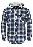 Redefined Rebel Meier Herren Freizeithemd Flanellhemd Hemd mit Karomuster und Sweat-Kapuze Aus 100% Baumwolle, Größe:L, Farbe:Navy