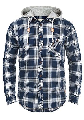 Redefined Rebel Meier Herren Freizeithemd Flanellhemd Hemd Mit Karomuster Und Sweat-Kapuze Aus 100% Baumwolle, Größe:M, Farbe:Navy