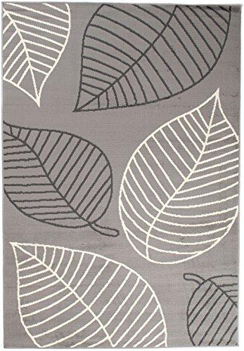 Art Deco Teppiche (Moderner Designer Teppich - Für Ihre Zuhause - Weiß Grau Schwarz - 200 x 300 cm - Abstraktes Blätter Muster -
