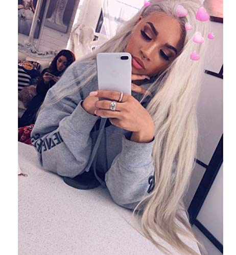 Vébonnie White Blonde Synthetische Spitzefrontperücken -
