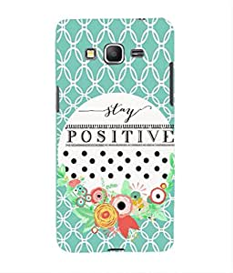For Grand Core Prime -Livingfill- Think Positive Stay Positive Printed Designer Slim Light Weight Cover Case For Grand Core Prime (A Beautiful One of the Best Design with a Classic Theme & A Stylish, Trendy and Premium Appeal/Quality) (Red & Green & Black & Yellow & Other)