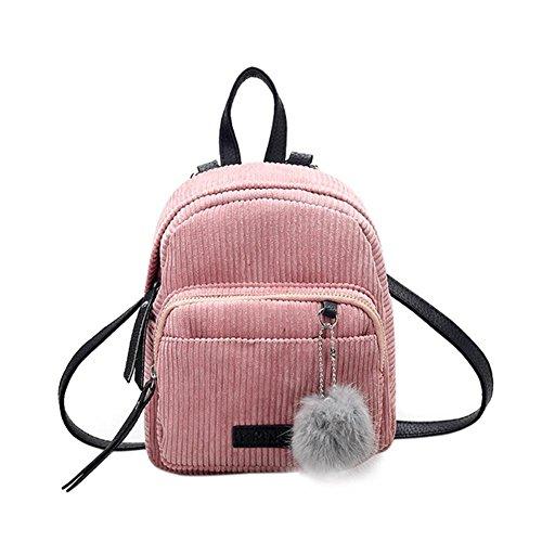 Demiawaking Casuale Donne Mini Zaino in Velluto Borse a Tracolla Zaino di Viaggio Borsa da Scuola Ragazze (Rosa)