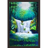 Mad Masters Watercolor Painting Of Waterfall 1 Piece Wooden Framed Painting |Wall Art | Home Décor | Painting Art | Unique Design | Attractive Frames