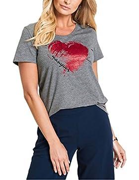 Freestyle Mujer Verano Tops Camisetas Sudaderas Casual Amor Patrones Blouses T-Shirt Blusa Pullover Moda Cuello...