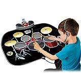 Wishtime - Juego de instrumentos de juguete musical eléctrico con micrófono y varillas de tambor, amplificador MP3/CD para niños