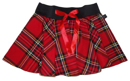 9 Inch Mini Tartan Skater Skirt with Bow - 3 Colours - S to XXL