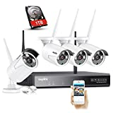 SANNCE 4CH Wireless Security System 1080P CCTV NVR 1TB Hard Drive, 4x720P Outdoor