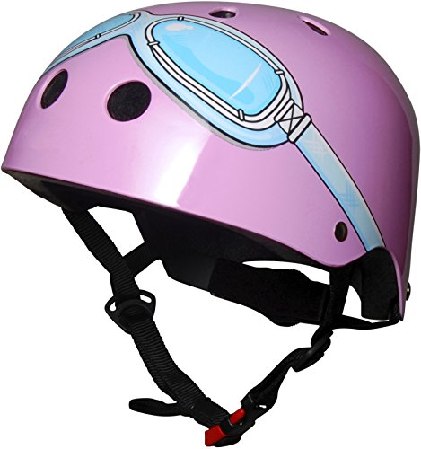 kiddimoto 2kmh021m - Design Sport Helm Goggle, Pilot M für Kopfumfang 53-58 cm, 5-12+ Jahre, rosa