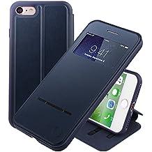 Funda inteligente con ventana y barra de botones Nouske para iPhone 7 iPhone 8 y de 4.7 pulgadas de Apple, Azul Marino