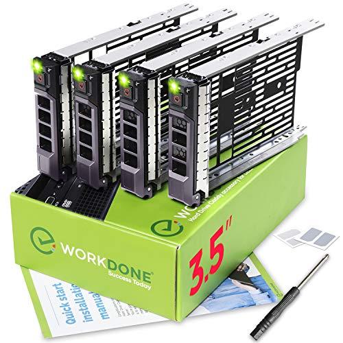 WorkDone 4er-Pack - 3,5-Zoll Festplatten-Caddy - KG1CH-kompatibel für  aufgelistete Dell PowerEdge Server - Handbuch - Aufkleber für Vorderseite -