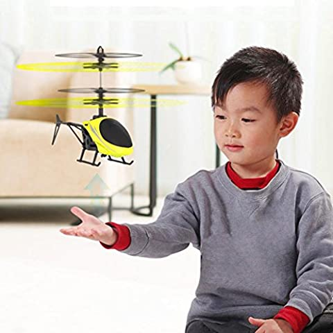 Alberar Flying Mini RC Infraed Induction Helicopter Aircraft Flashing Light Toys For Kid (yellow)